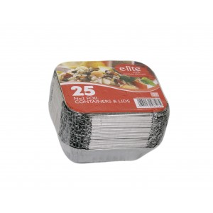 E-lite No.2 Aluminium Foil Container with Lids (25 Pack)-Foil Containers & Lids-Oh My Packaging